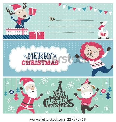 Christmas banner/ gift tag/ greeting card design - stock vector