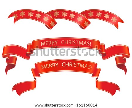 christmas  banner set  with a gold border