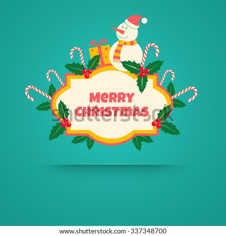 Christmas banner with snowman, candies and berries - stock vector