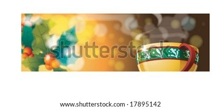 Christmas Banner with sweet hot coffee on Merry X-Mas on brown background : vector illustration - stock vector