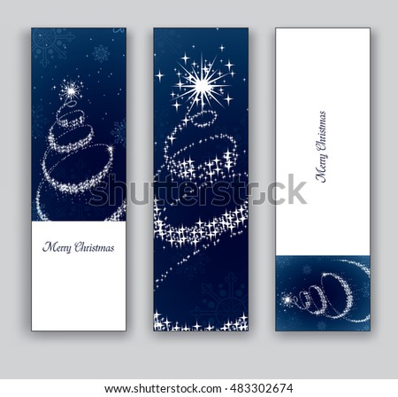 Christmas Banners or Bookmarks. Blue Glittery Designs.