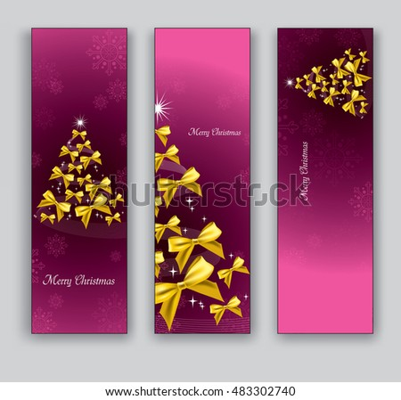 Christmas Banners or Bookmarks. Pink Glittery Designs.