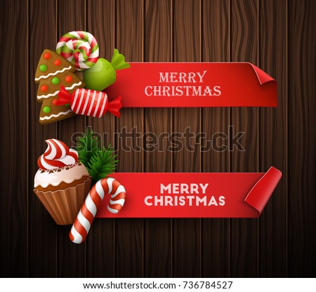 Christmas banners set. Vector illustration.