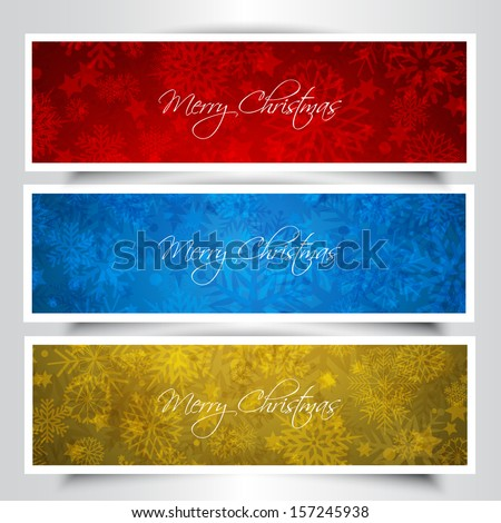 Christmas banners with a snowflake and stars design - stock vector