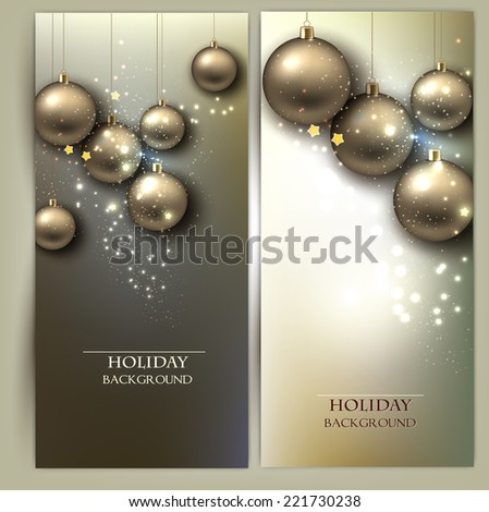 Christmas banners with balls. Golden Xmas baubles. Vector - stock vector