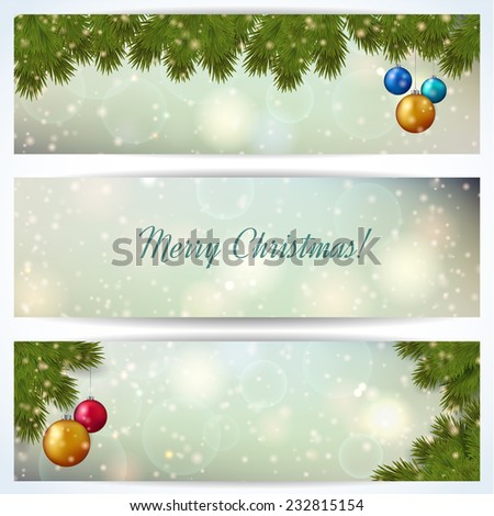 Christmas banners with fir twigs and bright balls. Vector illustration.  - stock vector