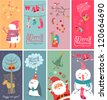 Christmas banners with funny characters - stock vector