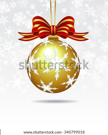 Christmas Bauble on a Snowflake Background - stock vector
