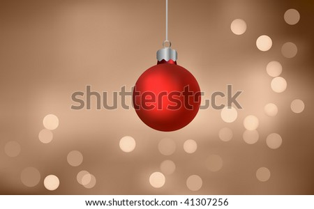 Christmas Bauble On Blurry Lights (Vector) - stock vector