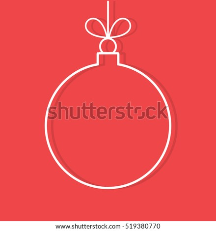 Christmas bauble ornament outline shape on red background. Vector illustration