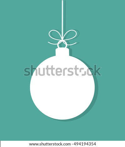 Christmas bauble white tag on blue background. Vector illustration