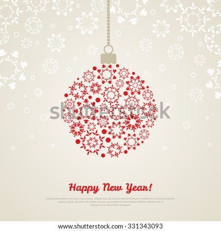 Christmas Bauble with snowflakes on light background. Vector illustration. Snowy ornate backdrop. Place for your text. New Year banner or greeting card template