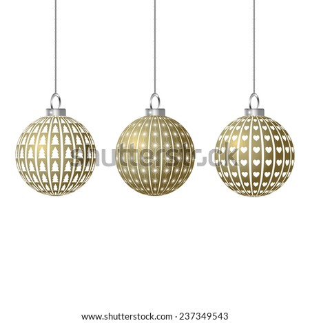 christmas baubles in gold star heart christmas tree