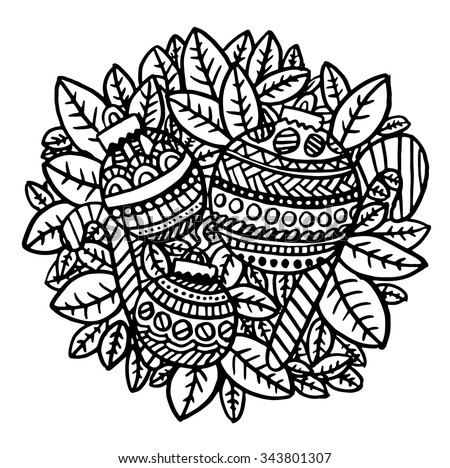 Christmas Baubles intricate hand drawn coloring page illustration. Black and white zentangle