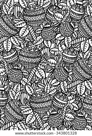 Christmas Baubles intricate hand drawn coloring page illustration. Black and white zentangle pattern