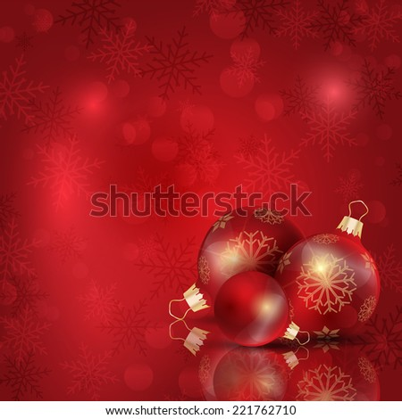 Christmas baubles on a snowflake background - stock vector