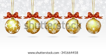 Christmas Baubles on a Snowflake Background Card - stock vector