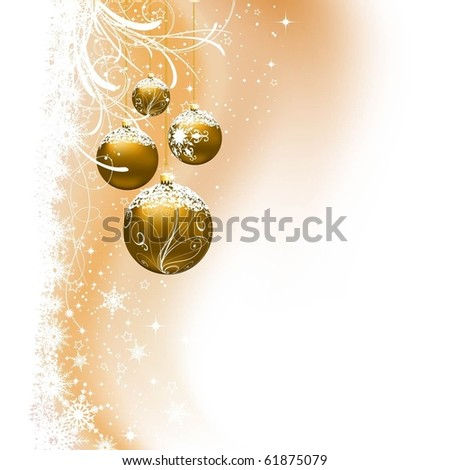 Christmas baubles on decorative snowflake background