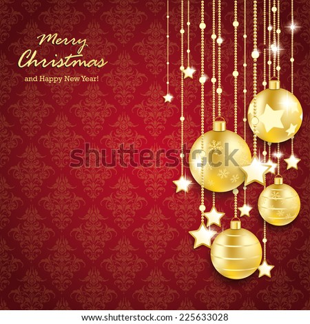 Christmas baubles on thered background with ornaments. Eps 10 vector file. - stock vector