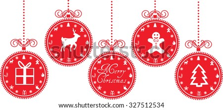 christmas baubles with christmas icons - stock vector