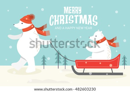 christmas/ bears on sledge vector/illustration