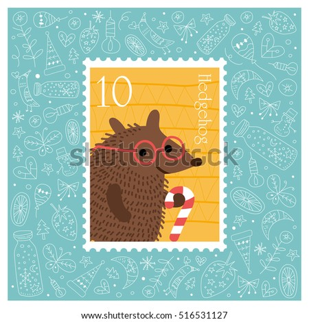 Christmas beautiful cheerful cute stamp with hedgehog. vector illustration