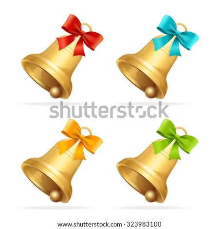 Christmas Bell Set. Traditional Symbol Of Christmas. Vector illustration - stock vector