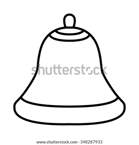Christmas bell silhouette, cartoon design for card, icon, symbol. Winter vector illustration isolated on white background.