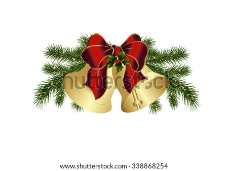 Christmas bells and a bow in red - stock vector