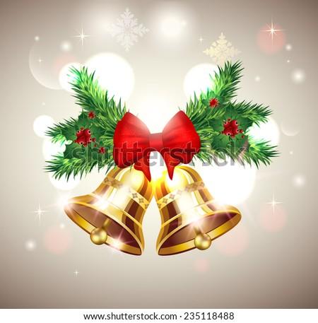 Christmas bells background  - stock vector