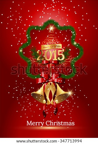 Christmas bells,Jingle bells with red bow on a red background. Vector illustration,Vector Christmas Bells,Vector illustration of shiny golden Christmas bells decorated with red bow - stock vector