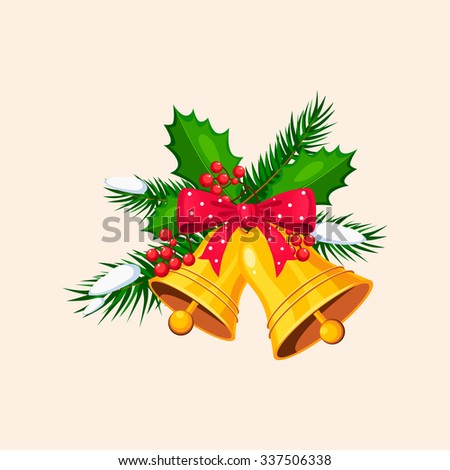 Christmas Bells with Bow and Berries. Holiday Vector Illustration - stock vector