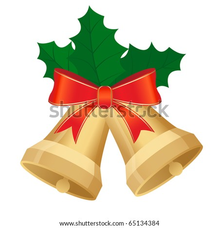 christmas bells with holly and bow - stock vector