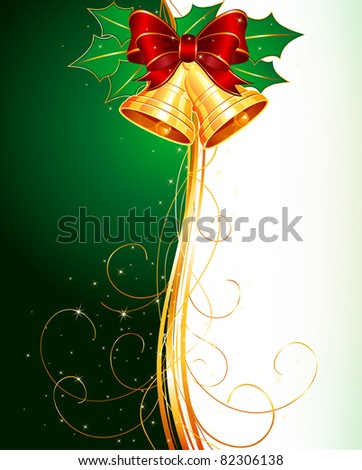 Christmas bells with holly and bow on green background - stock vector