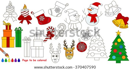 Christmas big coloring book. Colorless and colorful set in vector.  - stock vector