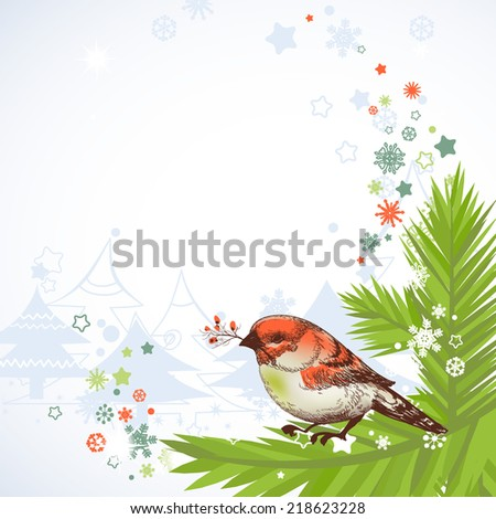 Christmas bird corner decoration - stock vector