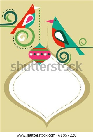Christmas birds greeting card template with copy-space - stock vector