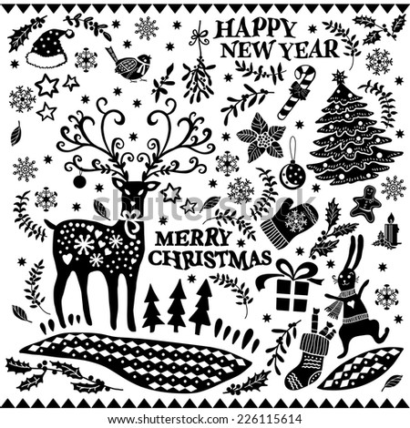 Christmas black and white doodle set. Hand-drawing graphics. Set of Christmas icons. Elements for design of cards, invitations and other print  projects. - stock vector
