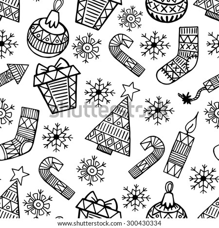 Christmas black and white sketch vector seamless pattern - stock vector