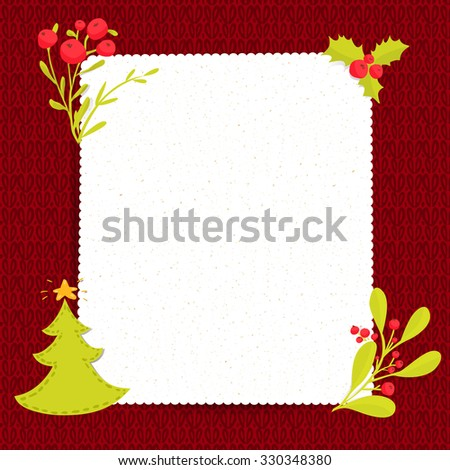 Christmas blank paper on red knitted texture. Vertical vector frame with copy spacea decorated with christmas tree, holly and winter branches at sweater background - stock vector