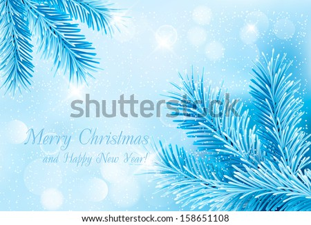 Christmas blue background with christmas tree branches and snowflakes. - stock vector