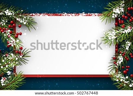 Christmas blue background with fir branches and holly. Vector illustration.