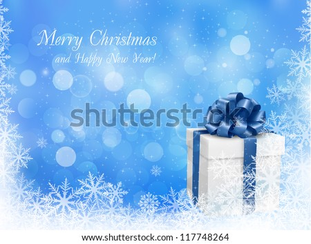 Christmas blue background with gift box and snowflake. Vector illustration. - stock vector