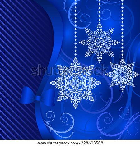 Christmas blue background with hanging ornamental snowflake shapes. - stock vector