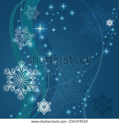 Christmas blue background with ornamental snowflake shapes. - stock vector