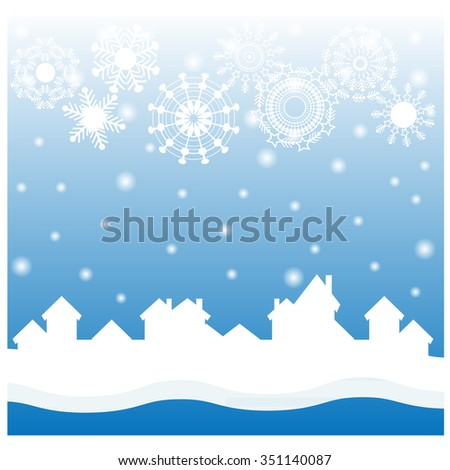Christmas blue background with white snowflakes