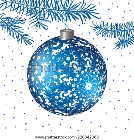 Christmas  blue ball with folk ornament.  Vector background. Christmas Background. EPS10.