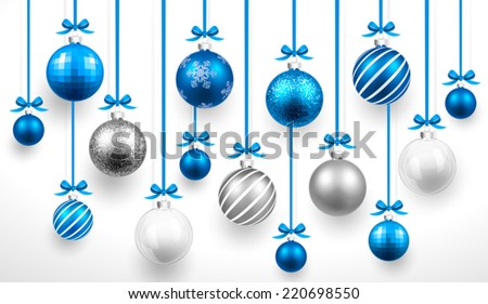 Christmas blue balls. Vector - stock vector