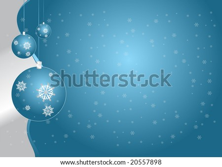 Christmas blue globes and silver snowflakes