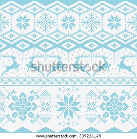 Christmas blue knitted seamless pattern on white background. Scandynavian sweater style.  - stock vector